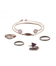 Feather Theme Rings Combo with Bracelets 6pcs High Fashion Jewelry Set