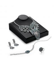 Luxurious Hollow Floral Pattern Design 4pcs High Fashion Rhinestone Jewelry Set