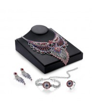 Luxurious Rhinestone Hollow Floral Phoenix Design 4pcs Wedding Party Jewelry Set