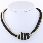 Weaving Rope and Alloy Combo Design Fashion Necklace - Black