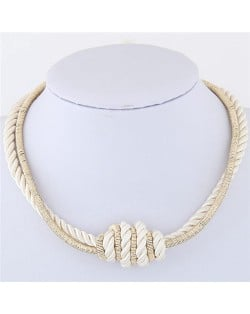 Weaving Rope and Alloy Combo Design Fashion Necklace - White