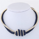 Weaving Rope and Alloy Combo Design Fashion Necklace - Royal Blue