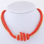 Weaving Rope and Alloy Combo Design Fashion Necklace - Red