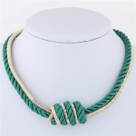 Weaving Rope and Alloy Combo Design Fashion Necklace - Green