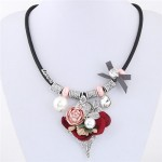 Flowers Leaves and Beads Pendants High Fashion Costume Necklace - Pink