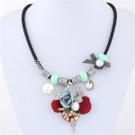 Flowers Leaves and Beads Pendants High Fashion Costume Necklace - Blue