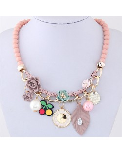 Flowers Clock and Assorted Elements Pendants Fashion Statement Necklace - Pink