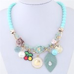 Flowers Clock and Assorted Elements Pendants Fashion Statement Necklace - Blue
