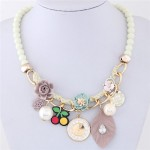 Flowers Clock and Assorted Elements Pendants Fashion Statement Necklace - White