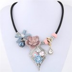 Delicate Flowers on the Leaf Design Fashion Statement Necklace - Pink