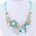 Flowers and Leaves Believe Fashion Beads Necklace - Blue