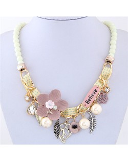 Flowers and Leaves Believe Fashion Beads Necklace - White