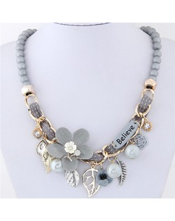 Flowers and Leaves Believe Fashion Beads Necklace - Gray