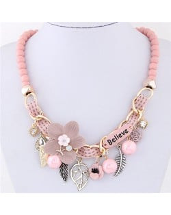 Flowers and Leaves Believe Fashion Beads Necklace - Pink