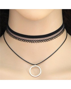 Dangling Circle Dual Layer Black Lace Fashion Necklace