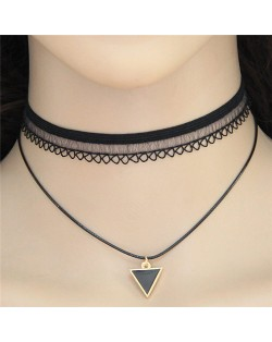 Lucky Triangle Pendant Two Layers Lace Choker Costume Necklace