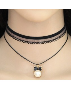 Graceful Bowknot Pearl Pendant Dual Layers Lace Choker Costume Necklace