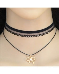 Hollow Golden Bowknot Pendant Dual Layers Lace Choker Fashion Necklace