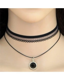 Black Round Pendant Two Layers Lace Choker Costume Necklace