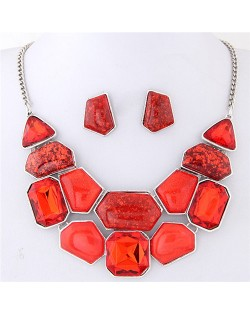 Irregular Shape Gems Combo High Fashion Costume Necklace and Earrings Set - Red