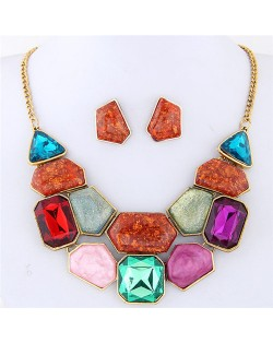 Irregular Shape Gems Combo High Fashion Costume Necklace and Earrings Set - Multicolor