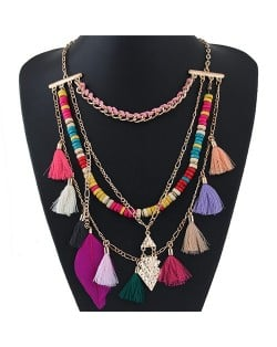 Bohemian Threads Tassel and Feather Style Multi-layer Fashion Necklace