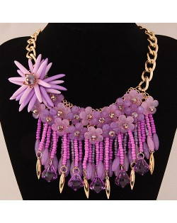 Bright-colored Flowers and Beads Tassel Design Fashion Statement Necklace - Purple