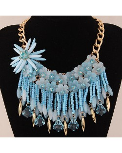 Bright-colored Flowers and Beads Tassel Design Fashion Statement Necklace - Blue