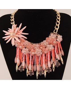 Bright-colored Flowers and Beads Tassel Design Fashion Statement Necklace - Pink