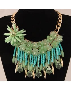 Bright-colored Flowers and Beads Tassel Design Fashion Statement Necklace - Green