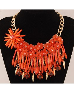 Bright-colored Flowers and Beads Tassel Design Fashion Statement Necklace - Orange