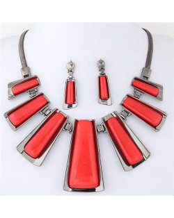 Resin Gem Inlaid Modern Bars Design High Fashion Necklace and Earrings Set - Red