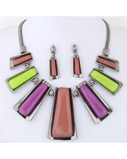 Resin Gem Inlaid Modern Bars Design High Fashion Necklace and Earrings Set - Multicolor