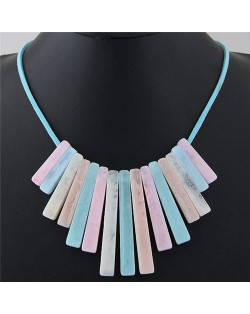 Acrylic Bars Combo Pendant Simple Rope Fashion Necklace - Multicolor
