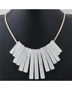 Acrylic Bars Combo Pendant Simple Rope Fashion Necklace - White