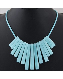 Acrylic Bars Combo Pendant Simple Rope Fashion Necklace - Blue
