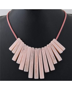 Acrylic Bars Combo Pendant Simple Rope Fashion Necklace - Pink