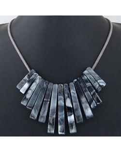 Acrylic Bars Combo Pendant Simple Rope Fashion Necklace - Black