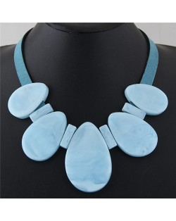 Candy Color Large Waterdrops Design Fashion Costume Necklace - Blue