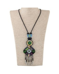 Cold Tone Color Beads Mingled Round and Square Pendants with Tassel Design Rope Costume Necklace