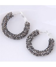 Dazzling Gem Fashion Hoop Earrings - Gray