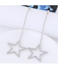 Rhinestone Embellished Dangling Dazzling Star Fashion Stud Eearrings - Silver