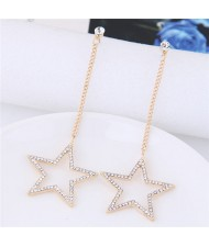 Rhinestone Embellished Dangling Dazzling Star Fashion Stud Eearrings - Golden