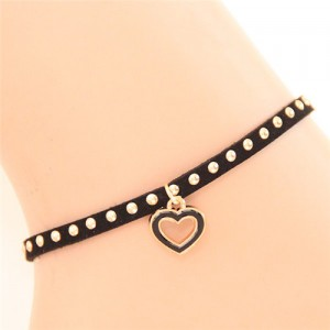 Alloy Studs Fashion Cute Heart Pendant Women Anklet