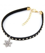 Alloy Studs Fashion Snowflake Pendant Women Anklet