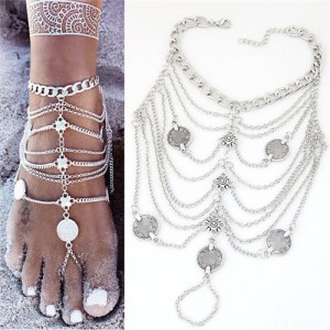 Vintage Coins Decorated Multi-layer Chain Fashion Anklet