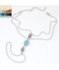 Artificial Turquoise and Hollow Flower Pendants Design Dual Layers Women Fashion Anklet