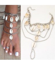 Seashell Embellished Multi-layer Chain Beach Fashion Women Anklet