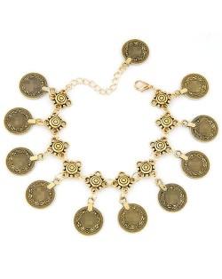 Vintage Coins High Fashion Alloy Anklet - Golden
