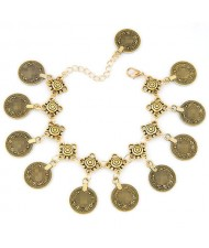 Vintage Coins High Fashion Alloy Anklet - Golden
